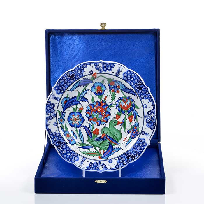 Iznik Plate Floral Pattersn with Duck Figure