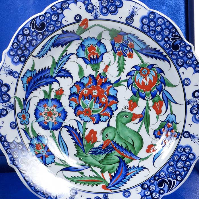 Iznik Plates Floral Pattersn with Duck Figure