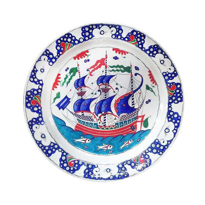 Iznik Plate Majestic Galleon Design