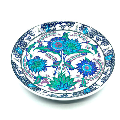 Iznik deep plate with two large flowerheads