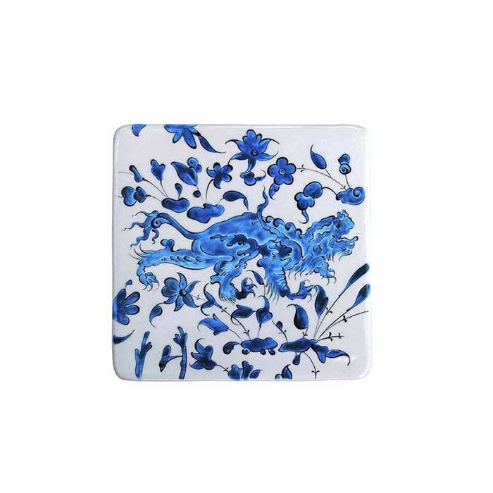Square shaped iznik plate with Animal Decorations