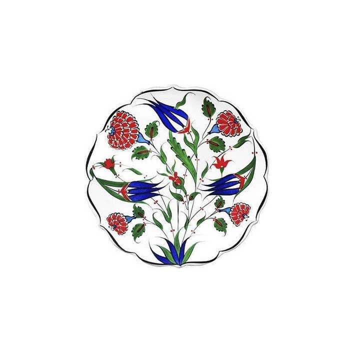Iznik small plate with rose and cobalt blue tulips