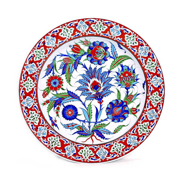 Iznik Plate Sycamore Leaves with Red Trim