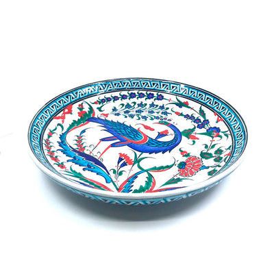 Iznik ceramic plate depicting peacock