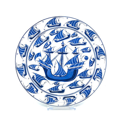 Galleon pattern iznik ceramic platter