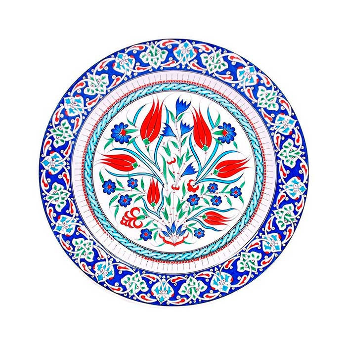 Iznik Plate Cobalt Blue Penc Flowers and Tulips
