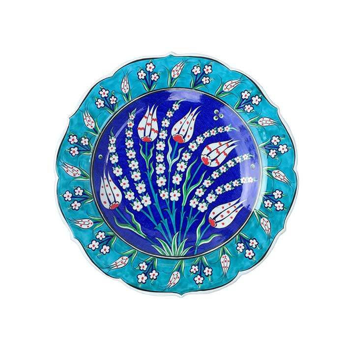 iznik plate decorated with ottoman tulips