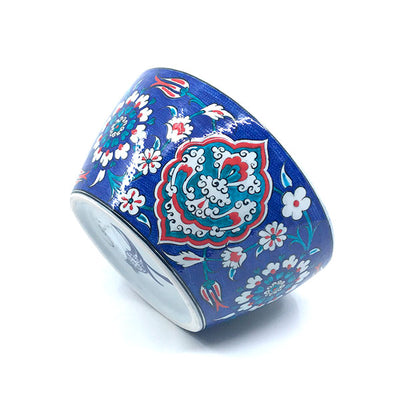 Iznik ceramic high bowl with floral design on cobalt-blue ground