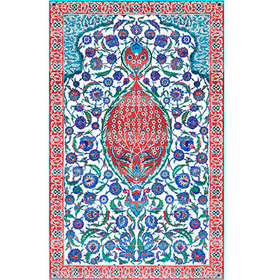 Coral red version of iznik floral panel