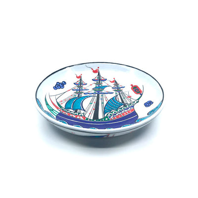 Iznik dish with blue ship design