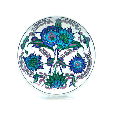 Iznik plate with branches of hyacinth blossom and curved saz leaves