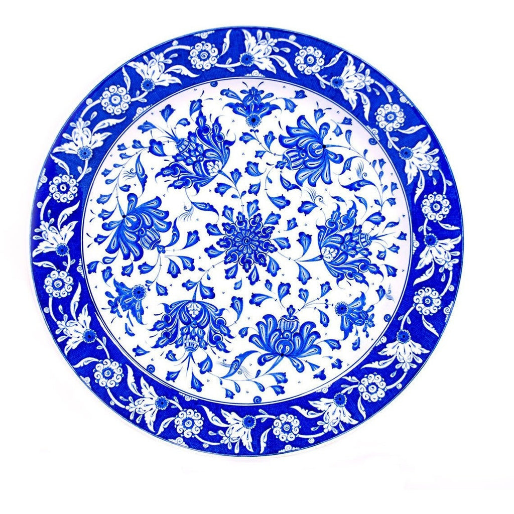 Plate - Iznik Plate |  Lotus Flowers In Cobalt-blue