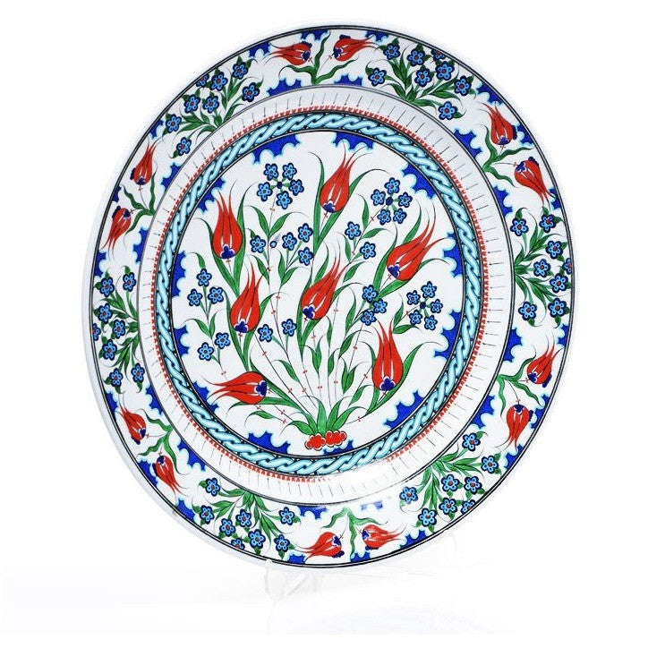 Plate - Iznik Plate | Tulips With Penc Flowers