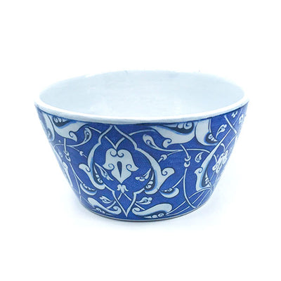 Iznik ceramic high bowl blue-white rumi pattern