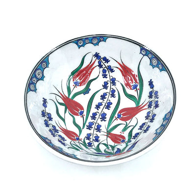 Iznik bowl hyacinths and red tulips