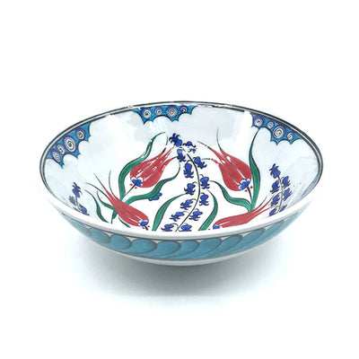 Iznik bowl with cobalt-blue hyacinths and red tulips