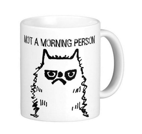 Funny Cat  Not a morning person White Coffee Mugs Tea Mug Customize Gift By LVSURE Ceramic Mug Travel Coffee Mugs