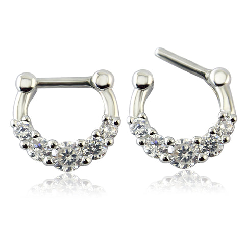 316L Surgical Stainless Steel Septum Clicker Ring Jeweled Septum Clicker 5 Pcs Zircon 16g Bar Tragus Ear