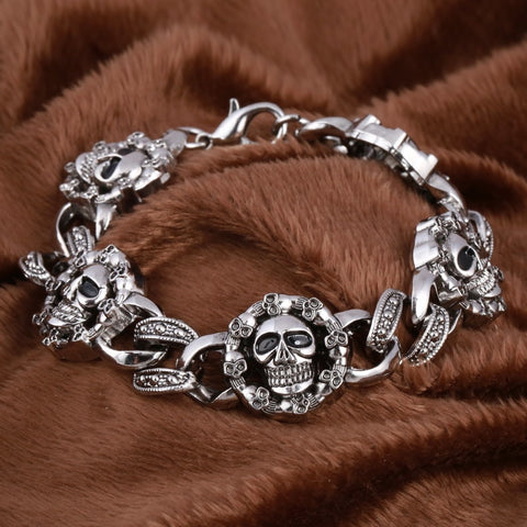 Gothic Skull Charm Bracelet Men's Bracelet Bangle Wholesale Male Stainless Steel Pulsera Handmade Wristband