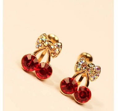 cherry butterfly knot without pierced ear clip female invisible earrings with crystal U clip LM-C269