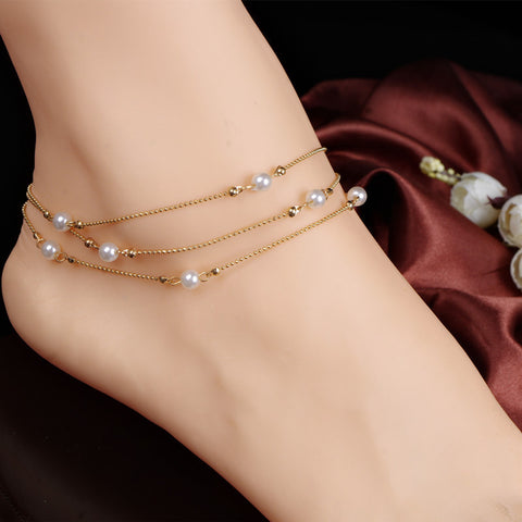 Multilayer Chains Imitate Pearl Anklets For Women Ankle Bracelet On leg Barefoot Sandals Foot Jewelry Anklet Bracelet 1PC