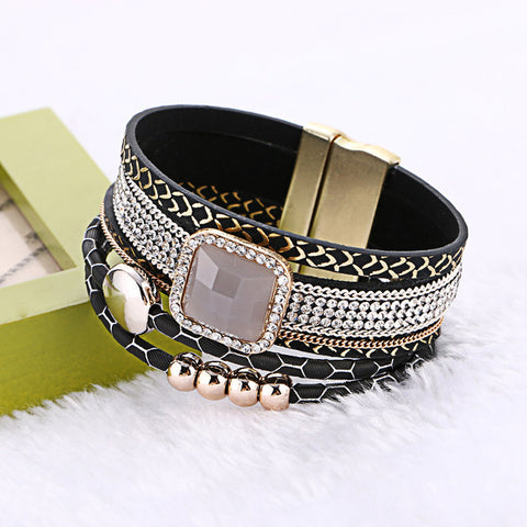 2016 Fashion Bohemian Handmade Gem Rhinestone Wide Magnetic Leather Bracelets&Bangles Wristband jewelry Feminina