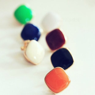 Cute candy colored Square no pierced earrings ear clip for women brincos clipe de orelha manguito