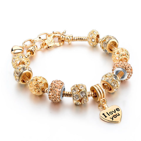 Heart Charm Bracelet For Women Gold Bracelets Bangles With Crystal Beads Female Diy Jewelry Gift SBR160067