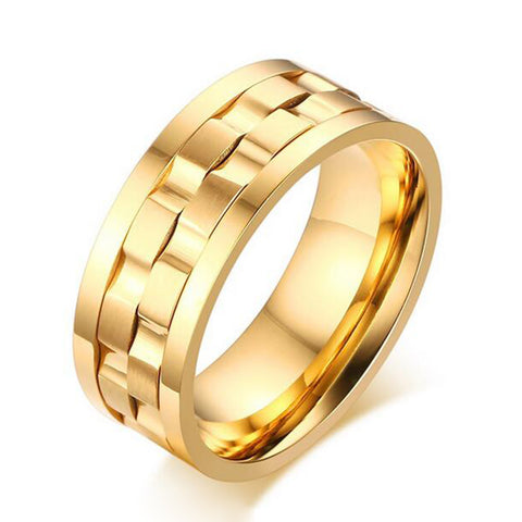 2016 New Wedding Ring Quality Titanium Jewelry for Men and Women Gold Silver Plated Stainless Steel Ring Spinner Ring