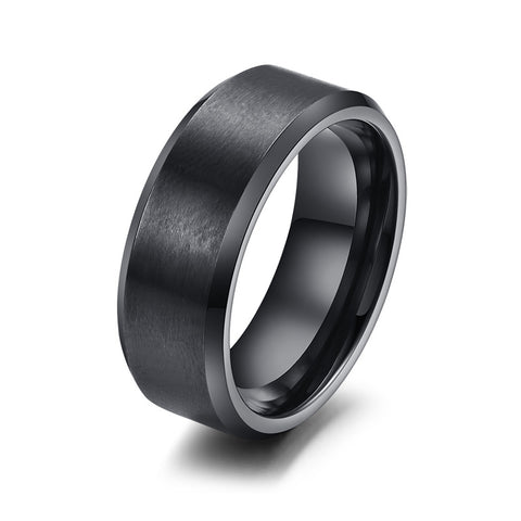 Vnox 316l stainless steel men ring 8mm black & silver & gold-color rings for women men jewelry
