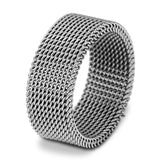 8mm Silver Stainless Steel Punk Rings Women Mesh Ring Wedding Engagement Band Men Jewelry Hot Sale