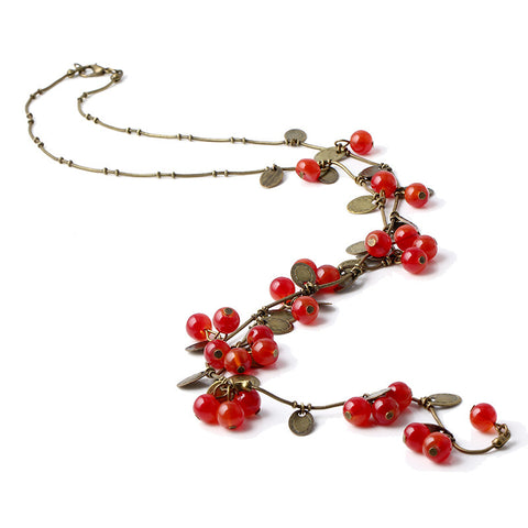 LNRRABC New Retro Women Statement Necklace Red Cherries Pendant Long Sweater Decoration Chain Female Fashion Jewelry Accessories