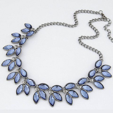 Match-Right Blue Crystal Statement Necklace Women Style Black Chain Necklaces & Pendants Colar Jewelry For Gift Party