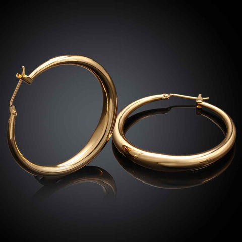 new Jewelry casual round hoop earrings gold color rose golden Zircon earing brincosSKGE031