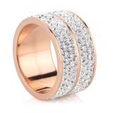 shipping New Rose Gold Color Classic design Stainless Steel Wedding Rings For Women Jewelry