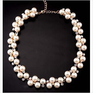 2016 New Good Quality Zinc Alloy Inlaid With Imitation pearls Short Choker Pearl Necklace SALE Gift sf-19