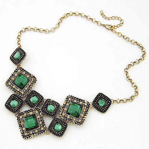Match-Right Green Square Vintage Statement Necklace Women Retro Rhinestone Necklace & Pendants Style Jewelry colar