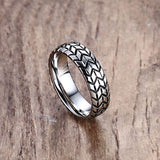 Hot Sale 6mm Stainless Steel Tire Grooved Ring Men Jewelry Rock Silver Gold Color Punk Biker Rings Wedding Jewelry