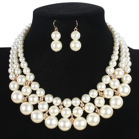 Jewelry Set European Women Fashion Necklace Earrings Simple simulated Pearl Pendant african beads Gold Color Wedding Sets