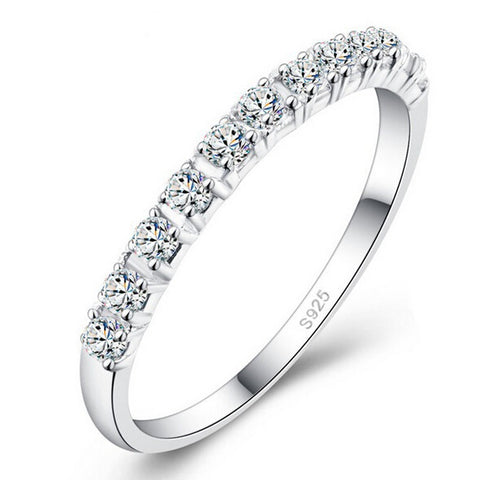 S925 Wedding mix size Carat Round CZ Plated Simulated Eternity Ring Bands New Jewelry for Women Bague Anillos A2436
