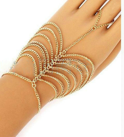 New Charm Multilayer Chain Tassel Bracelet Slave Chain Link Finger Hand Harness Jewelry Chain Bracelet Gold Bracelets & Bangles