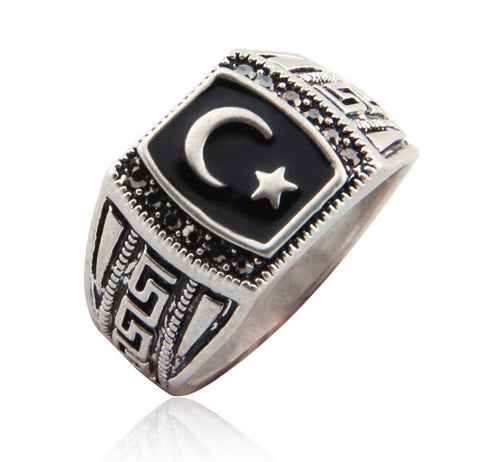 Antique Silver Color Mmuslim Moon & Star Ring Muhammed Muslim Islamic Arabic Ring Middle Eastern Religious Jewelry For Men Women