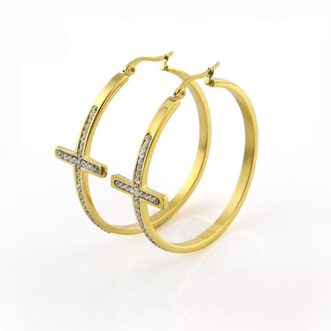new product cross Hoop earring womens girls Fashion elegant earrings, women jewelry