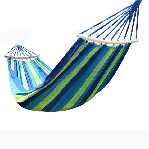 Outdoor Leisure Hammock Swing Canvas Stripe Hang Bed Hammocks for Travel Camping  2017ing