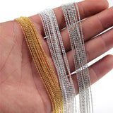 10pcs/lot 1 mm Metal Ball Bead Link Chains Gold Silver Plated For DIY Making Jewelry Necklace Bracelet Accessories