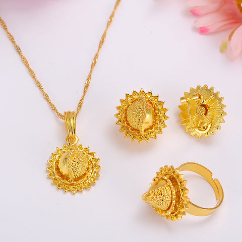 Ethiopian Gold Jewelry Sets Earrings Pendant Ring KenyaTraditional African bridal Habesha Women Party African wedding gift
