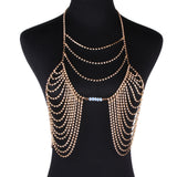 Best lady y Women Love Rhinestone Bra Brassiere Body Necklace Chain Hot Fashion Statement Necklace Jewelry 4468
