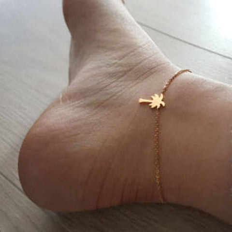 Hawaii Beach Party Jewelry Palm Tree Anklet Charm Women Leg Chain Sandal Barefoot Anklets Bracelets Foot Accesories
