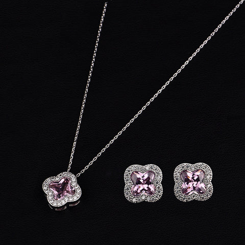 high quality nigerian party jewelry sets crystal Clover flower jewelry set for pink CZ 1 Set Cubic Zircon AAA