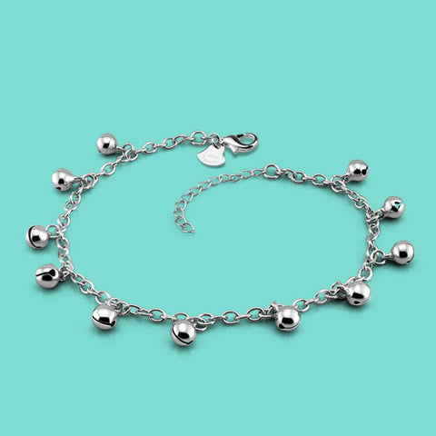 lady 925 silver anklets casual the bell design Silver chains girl popular silver jewelry Solid silver anklets